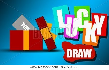 Prize Box Opening With Colorful Lucky Draw Word, 3d Rendering