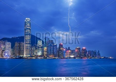 Thunderstorm Hongkong Cityscape At Night , Hong Kong City.