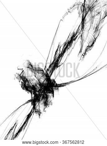 Fleeting Ripple Ink Smoke Abstract Illustration, Vertical, Isolated, Over White
