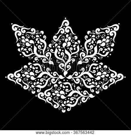 Stylized Lotus Flower, Decorative Element. Hand Drawn Mehndi Design. Ethnic Monochrome Doodle Textur
