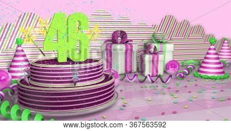 Purple Round 46 Birthday Cake Decorated With Colorful Sparks And Pink Lines On A Bright Table With G