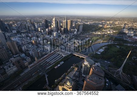 Panorama Of Melbourne City Center From A High Point. Australia. Beautiful Panorama Of Skyscrapers In