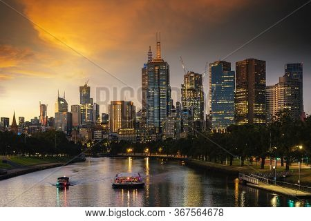 Landscape Of Melbourne City Over Maribyrnong River And Footscray Park. Crowded Modern Office Buildin