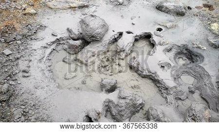 A Close-up Of An Acid Source. Hot Steam. Acid Hot Springs In Krysuvik, Iceland. Geothermal Area Krys