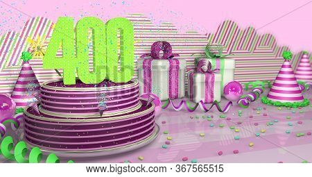 Purple Round 400 Birthday Cake Decorated With Colorful Sparks And Pink Lines On A Bright Table With