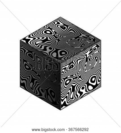 White Background And Abstract White Black Cube