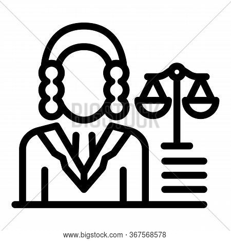 Prosecutor Balance Icon. Outline Prosecutor Balance Vector Icon For Web Design Isolated On White Bac