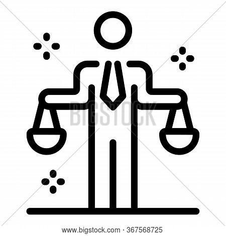 Prosecutor Justice Balance Icon. Outline Prosecutor Justice Balance Vector Icon For Web Design Isola