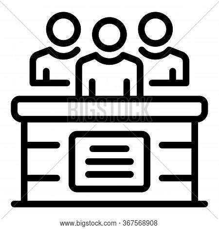 Tribunal Justice Icon. Outline Tribunal Justice Vector Icon For Web Design Isolated On White Backgro