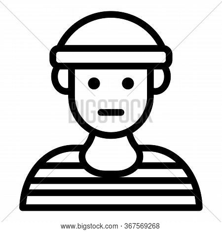 Prison Young Man Icon. Outline Prison Young Man Vector Icon For Web Design Isolated On White Backgro