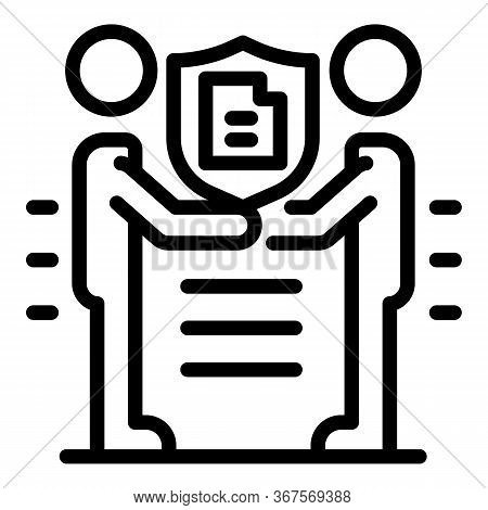 Notary Agreement Icon. Outline Notary Agreement Vector Icon For Web Design Isolated On White Backgro