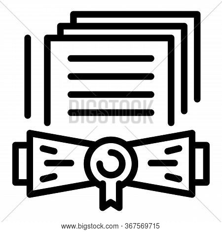Notary Certificate Icon. Outline Notary Certificate Vector Icon For Web Design Isolated On White Bac