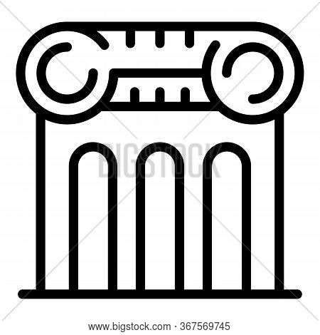 Notary Column Building Icon. Outline Notary Column Building Vector Icon For Web Design Isolated On W