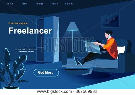 Freelance Job Isometric Landing Page. Young Man Working With Laptop At Home Office Website Template.