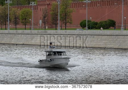 Moscow, Russia - May 9, 2020:patrol Boat Of The Central Directorate Of State River Supervision On Th