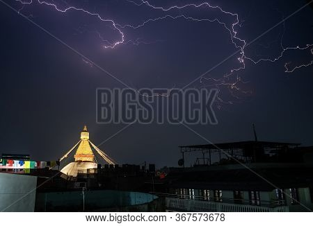 A Thunderstorm Front Rages Over The City Of Kathmandu, In The Place Where Boudha Stupa Is Located. L