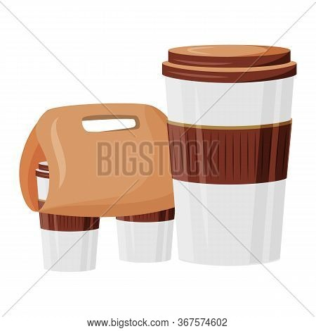 Cafeteria Take Out Cartoon Vector Illustration. Hot Drinks For Take Away. Cardboard Package. Coffeeh