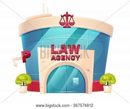 Law Agency Cartoon Vector Illustration. Notary Glass Building Flat Color Object. Legal Services Depa