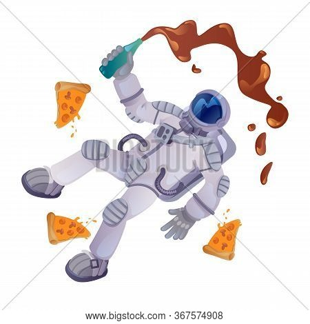Cosmonaut With Food Cartoon Vector Illustration. Astronaut With Bottle And Pizza Pieces. Ready To Us