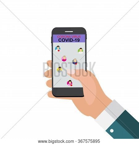 An Application On The Phone Showing Infected People Nearby. Flash Coronavirus Stamp Mers-cov. 2019-n