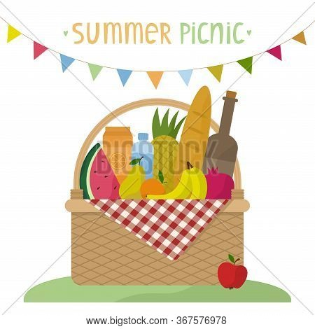 Vector Illustration Of A Wicker Picnic Basket With A Blanket. Basket With Food, Drinks And A Garland