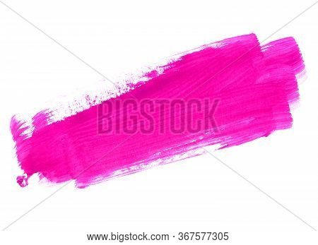 Bright Pink Paint Texture On White Background For Design, Space For Text, Hand Drawn