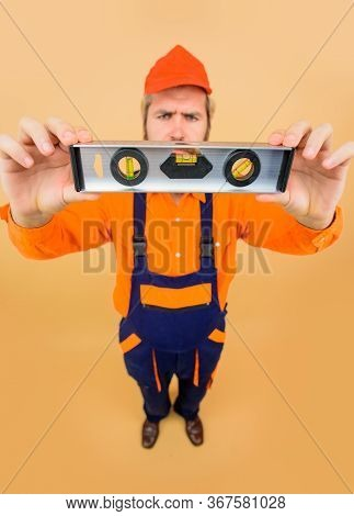 Level Tool. Construction Work, Repair. Building. Handsome Architect Or Construction Worker With Cons