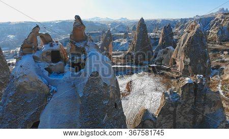 World Heritage, Cappadocia, Gereme, Turkey. Beautiful Mountains Of Volcanic Origin.
