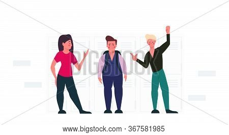 Bullying A Fat Man Person Problem Violence Student School Vector Illustration. Overweight Character