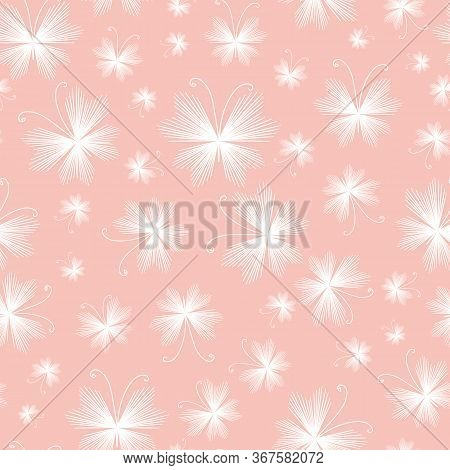 White Delicate Butterflies Seamless Vector Pattern On A Pink. Decorative Girly Surface Print Design.