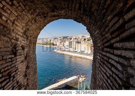 Partenope Street In The Naples Bay. Seafront View From The Windows Of Egg Castle, Castel Dellovo, Of