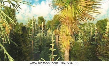 Dinasour forest in big resolution 3d rendering