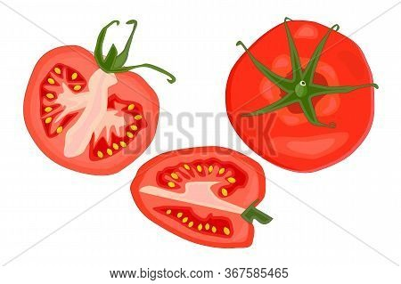 Tomato Slice Set Isolated On White Background. Vegetable, Vegetarian, Vegan Healthy Organic Food. Wh