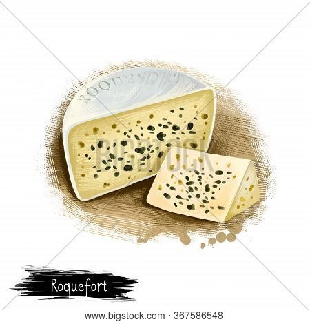 Roquefort Cheese Digital Art Illustration Isolated On White Background. Fresh Dairy Product, Healthy