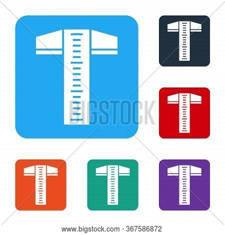White T-square Line For Professional Drafting Icon Isolated On White Background. Set Icons In Color