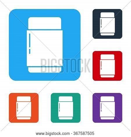 White Eraser Or Rubber Icon Isolated On White Background. Set Icons In Color Square Buttons. Vector