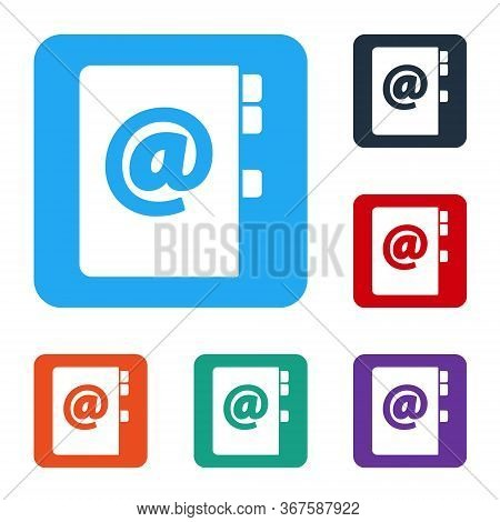 White Address Book Icon Isolated On White Background. Notebook, Address, Contact, Directory, Phone,