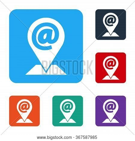 White Location And Mail And E-mail Icon Isolated On White Background. Envelope Symbol E-mail. Email