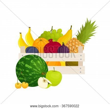 Selling Farm-grown Organic Food. Box With Selling Farm-grown Organic Food. Box With Fruits. Vector.