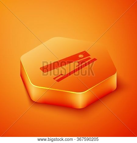 Isometric Office Stapler Icon Isolated On Orange Background. Stapler, Staple, Paper, Cardboard, Offi