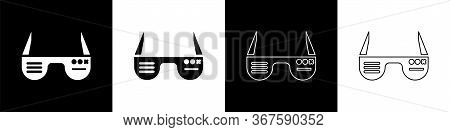 Set Smart Glasses Mounted On Spectacles Icon Isolated On Black And White Background. Wearable Electr