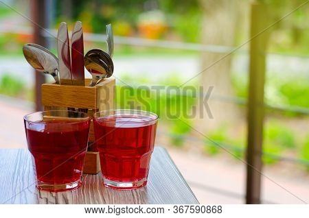 Summer Terrace Cafe Restaurant, Business Lunch, Glass Of Juice On Nature Background