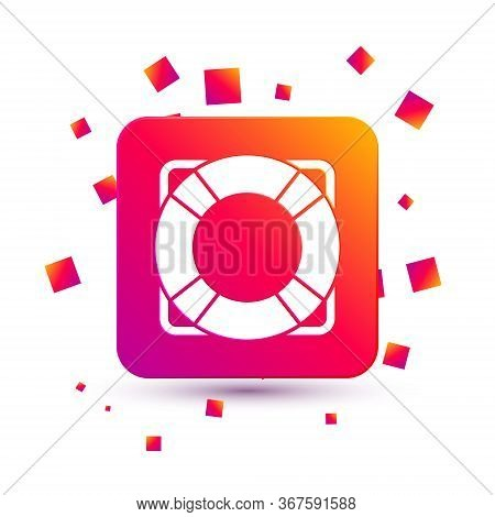 White Lifebuoy Icon Isolated On White Background. Lifebelt Symbol. Square Color Button. Vector
