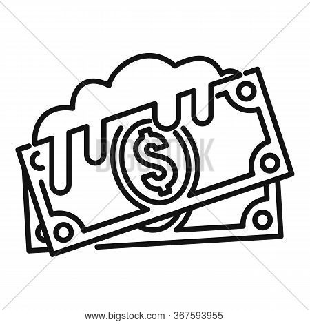 Cash Money Laundering Icon. Outline Cash Money Laundering Vector Icon For Web Design Isolated On Whi