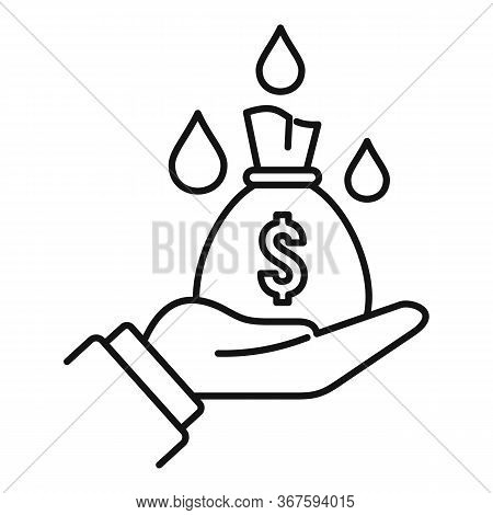 Laundering Money Bag Icon. Outline Laundering Money Bag Vector Icon For Web Design Isolated On White