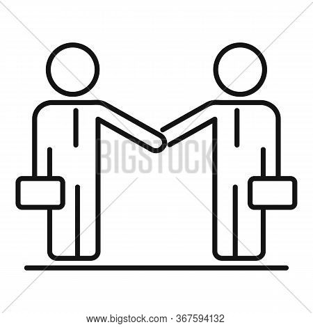 Businessmen Collaboration Icon. Outline Businessmen Collaboration Vector Icon For Web Design Isolate