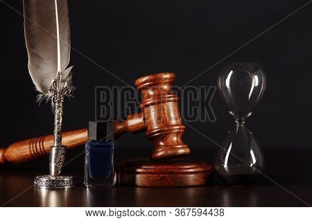 Notarys Public Pen, Hourglass And Stamp On Testament And Last Will. Notary Public Tools