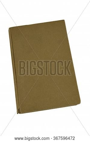 Isolated Old Brown Hardcover Book With Blank Cover On White Viewed From Above With Copy Space