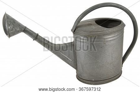 Old Galvanised Metal Watering Can With Long Spout Isolated On White With Copy Space