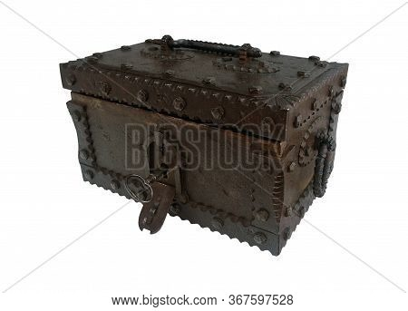 Sturdy Antique Iron Chest With A Concealable Lock On A White Background.